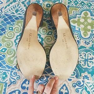 Anne Klein Shoes - AK Roselyn blue leather peeptoe kitten heels